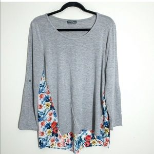 Market & Spruce M Top Gray Knit Floral Tab Sleeve